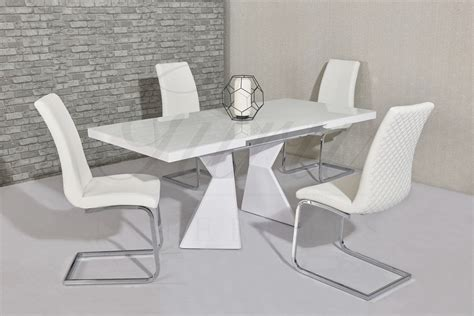 White Extending Dining Tables Roselle White High Gloss Extending Dining Table