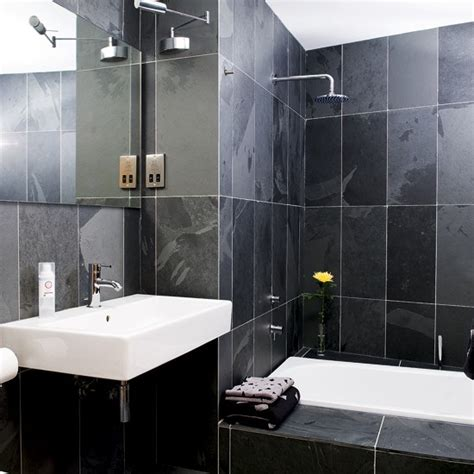 dark tile bathroom ideas small black bathroom understated white sanitaryware