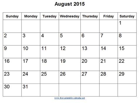 Calendar For August 2015 August 2015 Calendar Pdf Calendar Page