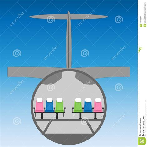 airplane cross section narrow body airplane cross section with blue sky stock