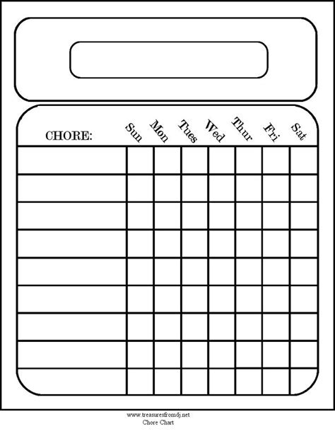 free printable chore chart templates for printable calendar weekly blank calendar template 2016