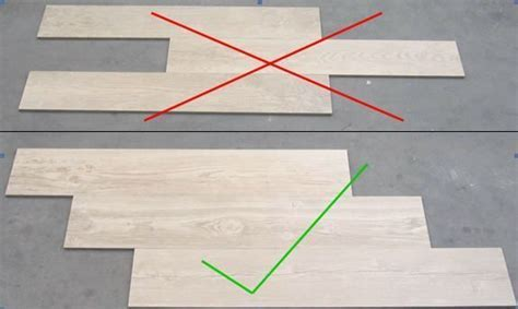 When installing wood grain tiles, stagger them like wood