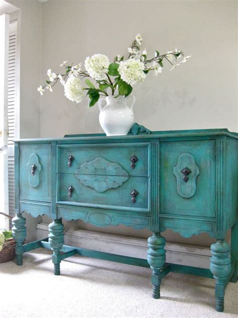 sold hand painted french country cottage chic shabby romantic vintage victorian jacobean aqua