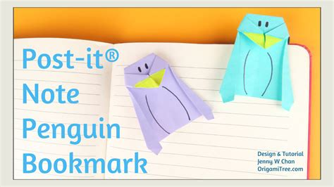 Post It Origami - origami boomark origami post it 174 note penguin bookmark