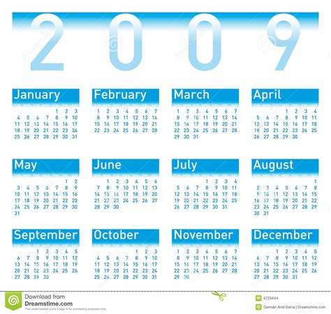 Calendrier De 2009 Bleu Du Calendrier 2009 Images Stock Image 4725644