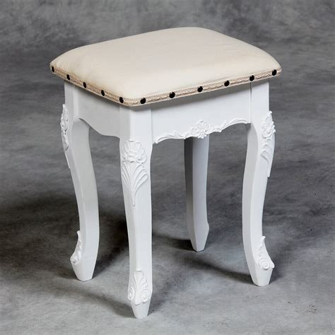 provence white small dressing table stool