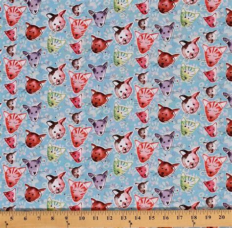 printable fabric by the yard cotton kathy davis paw prints kitties cats animals cotton