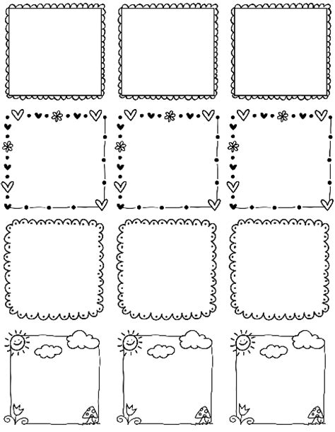 free doodle labels printable doodle borders labels by inktreepress