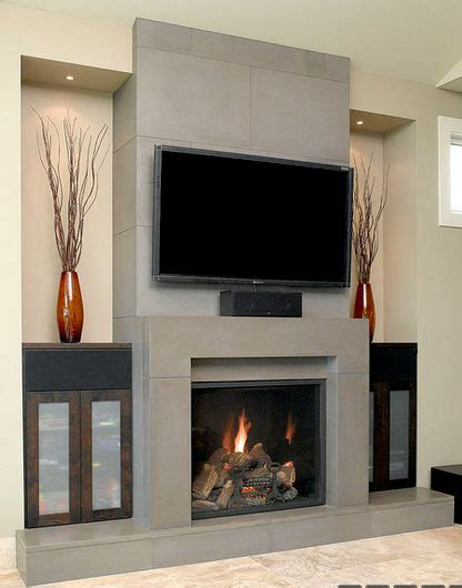 solus block concrete fireplace surround w wall tiles and