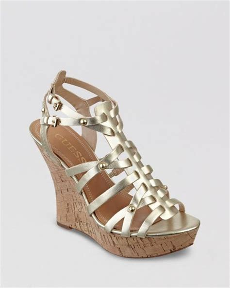 guess wedge shoes guess platform wedge sandals bilbery in gold lyst