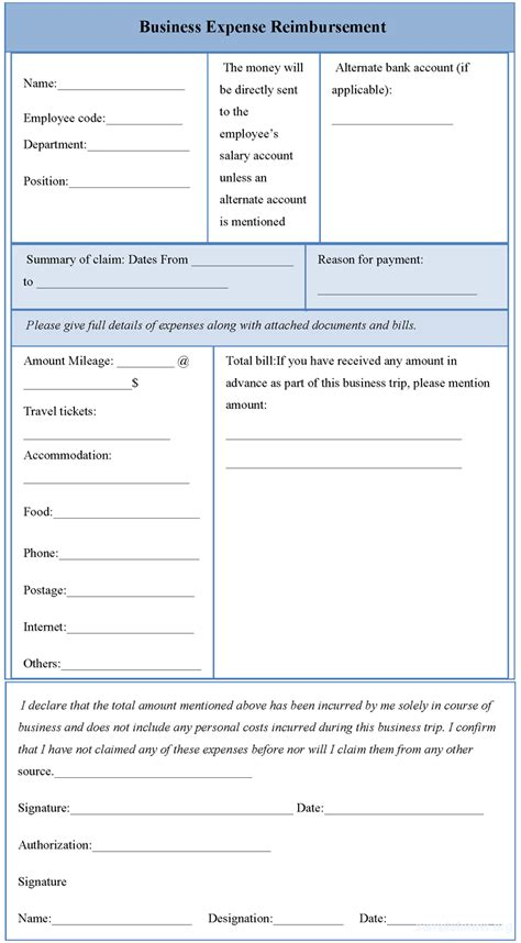 business expenses form template business expense reimbursement form sle forms