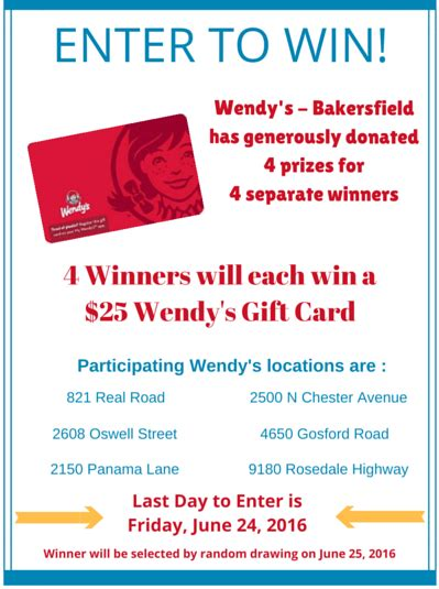 Days Inn Gift Cards - enter to win 25 wendy s gift card kern value card