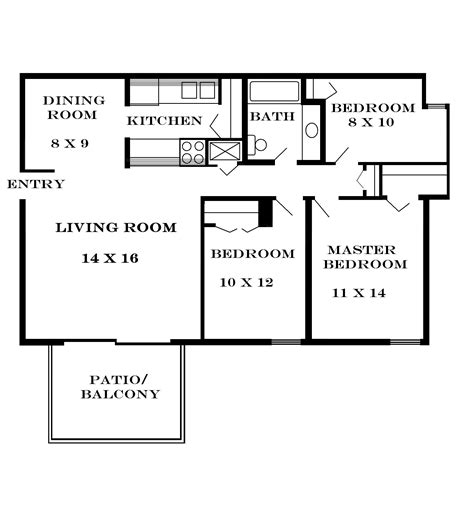 house plan with 3 bedroom small three bedroom house plans