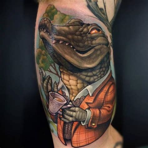 arm fantasy crocodile tattoo by niteowl tattoo