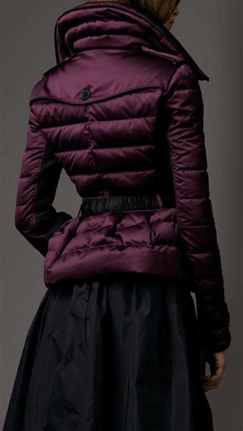 burberry downfilled quilted jacket in purple lyst
