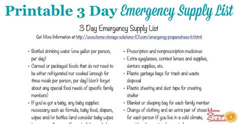 Home Storage Solutions 101 Organized Home Free Printable 3 Day Emergency Supply List