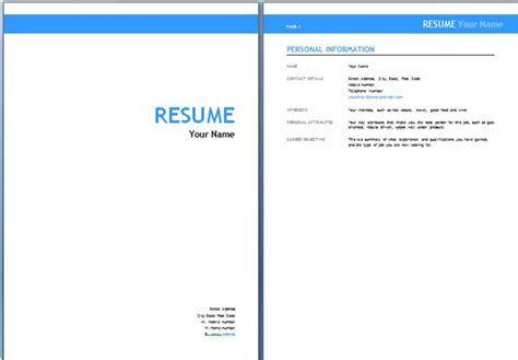 Cover Sheet Resume Template by Australian Resume Templates Resume Australia