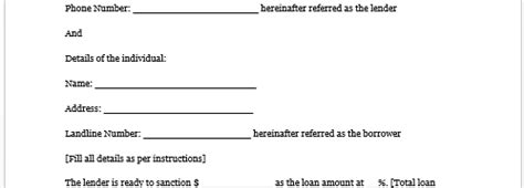 contract template for borrowing money contract for borrowing money free printable documents