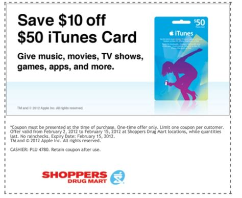 print off itunes gift card shoppers drug mart canada 10 off 50 itunes card