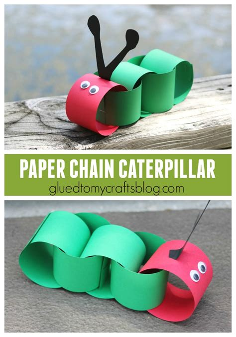 paper chain crafts paper chain caterpillar kid craft glued to my crafts