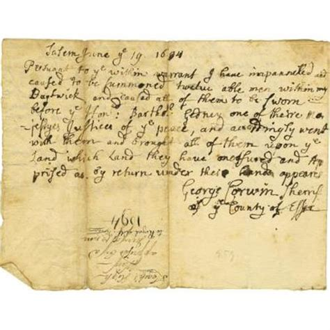 Salem Court Records Salem Witch Trials George Corwin Stephen Sewall