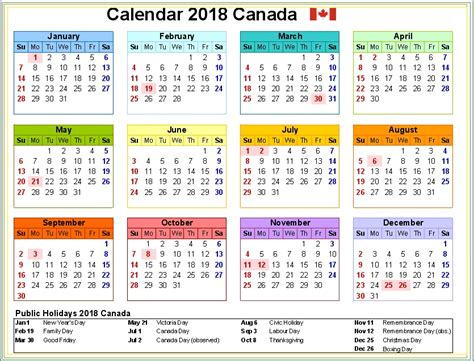 Canada Calendario 2018 2018 Holidays Calendar Canada Calendar 2018