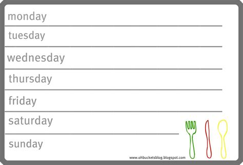 template for weekly menu weekly dinner menu template word