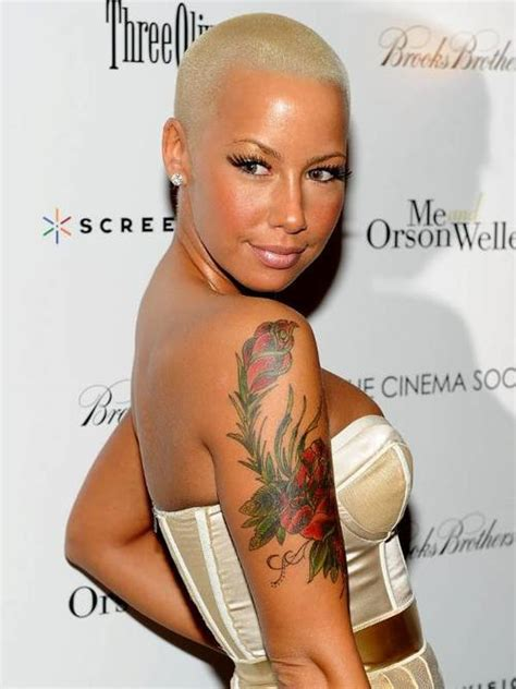 amber rose flower women tattoo