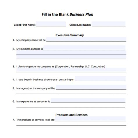 16 Sle Small Business Plans Sle Templates Fill In The Blank Business Plan Template Free