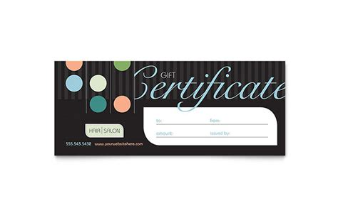 beauty hair salon gift certificate template word