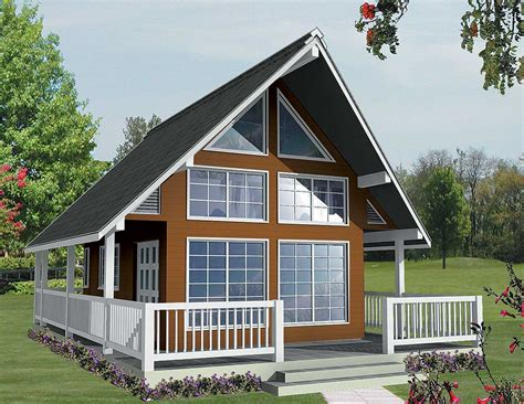 cottage plans vacation escape with loft and sundeck 9836sw