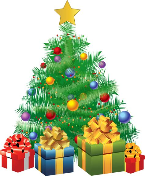 transparent christmas green tree with gifts png picture