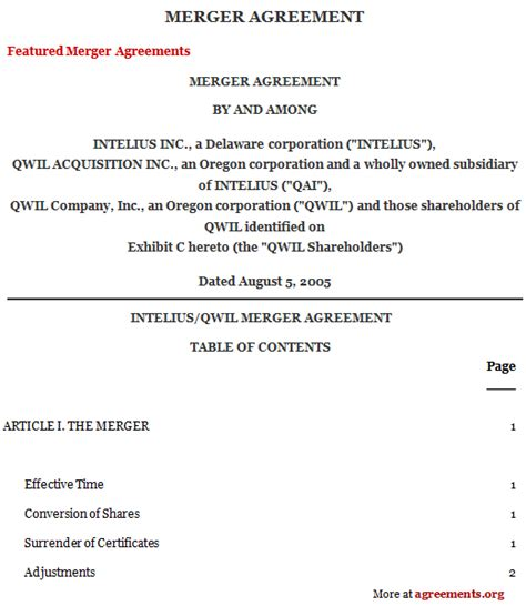 merger agreement template merger agreement sle merger agreement template