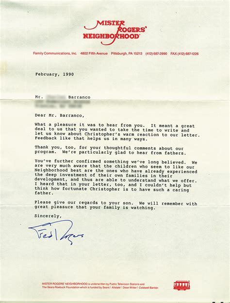 Letter Mister i recently found this letter mr rogers wrote to me when i