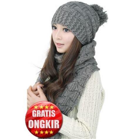 Topi Wanita Import Rajut syal topi rajut musim dingin wanita 5 color thicken knitting g006e01 coat korea