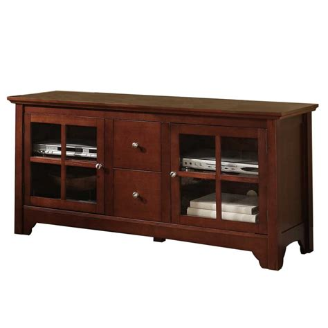 52 inches in 52 inch wood tv stand with drawers and glass doors by