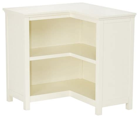 Cameron Corner Bookcase Simply White Transitional Corner Bookcase White