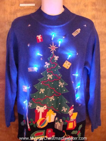 bright blue light up ugly xmas sweater with awesome tree