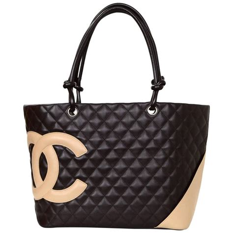 Tote Bag Cc chanel brown quilted leather cc cambon tote bag for sale at 1stdibs