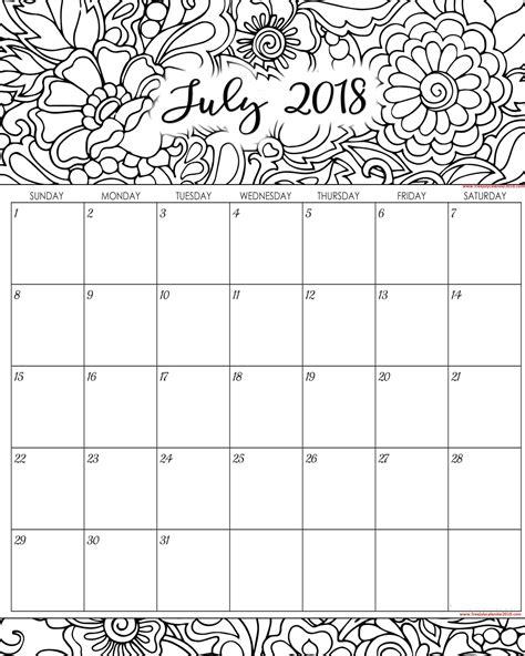 calendar template july 2018 60 free july 2018 calendar printable blank templates