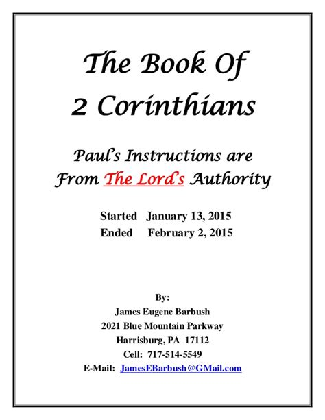 The Book Of Paul the book of 2 corinthians paul s from the