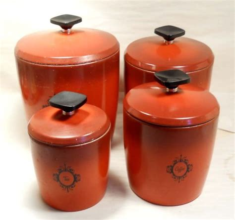 vintage kitchen canisters orange coffee sugar tin canisters kitchen vintage canister set west bend coffee tea flour