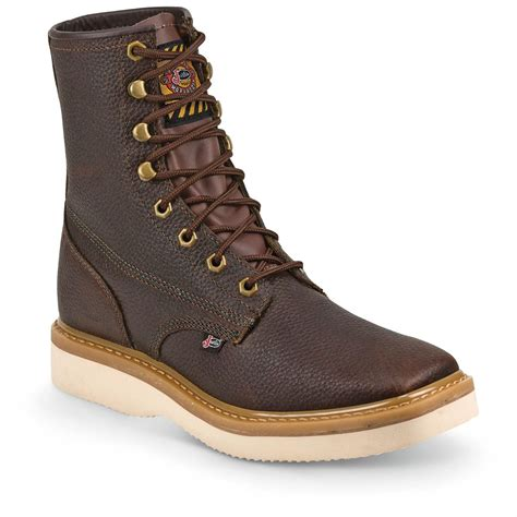 justin s 8 quot premium wedge work boots square toe