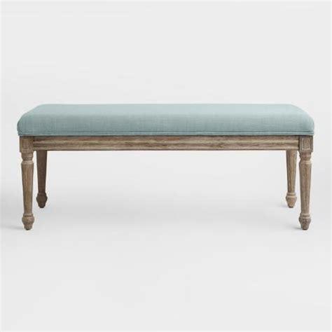 blue upholstered bench blue linen paige upholstered dining bench world market