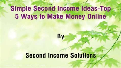 Top 5 Ways To Make Money Online - simple second income ideas top 5 ways to make money online