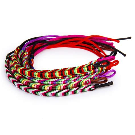 Handmade Braided Bracelets - details about 9 x colorful handmade braided friendship