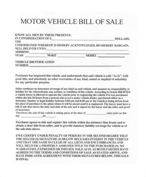 Free Bill Of Sale Template Ga by Car Bill Of Sale Ga Template Business