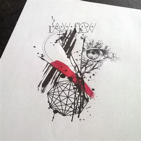 trash tattoo abstract trash polka tree eye geometry