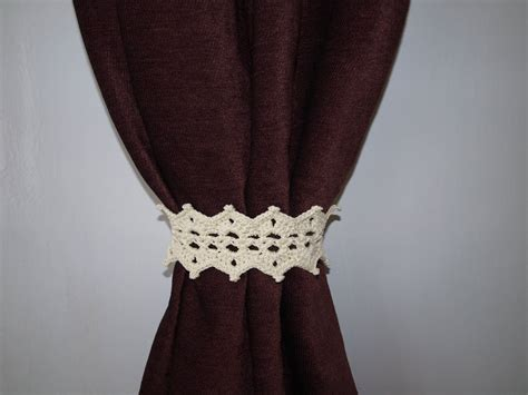 crochet curtain tie backs beige lace tieback with button crochet curtain tie back pair