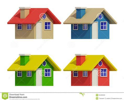 imagenes de casas navideñas animadas sistema de cuatro casas con los cambios del color stock de